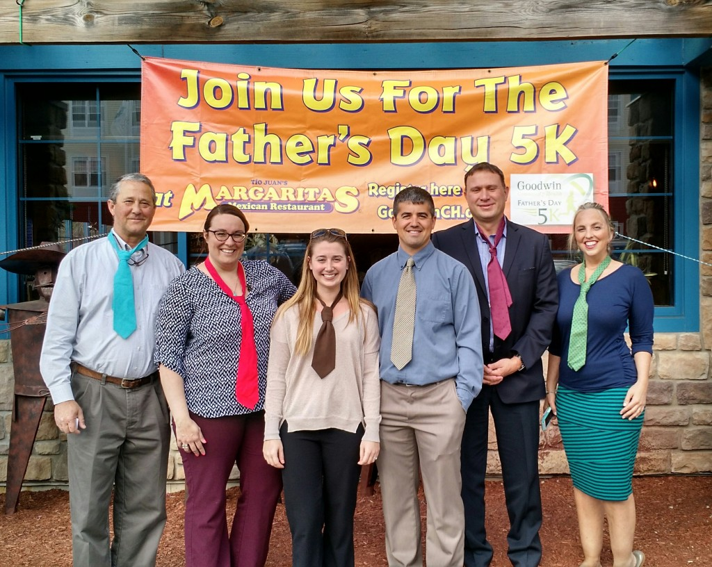 Event Sponsors gather at Margaritas wearing neckties in support of the Fatherís Day 5K: Michael Schidlovsky, ConvenientMD; Andrea Johnson, Margaritas; Samantha Pellerin, Goodwin Community Health; Dan Lombardi, Somersworth Physical Therapy; Eric Kilchenstein, Esq., Shaheen & Gordon; Lara Willard, Goodwin Community Health.