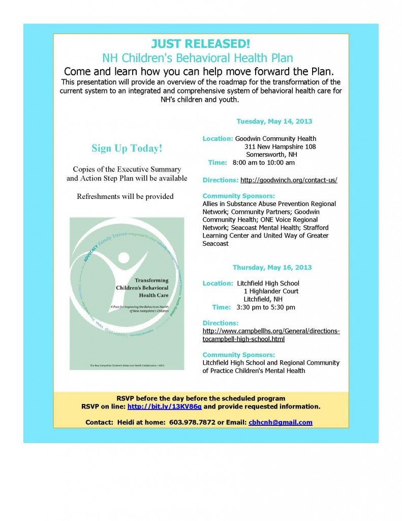 Come Learn About NH's Plan for Children's Behavioral Health