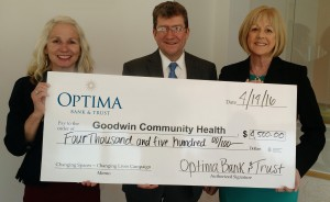 Pictured Left to Right: Janet Laatsch, CEO of Goodwin Community Health; Optima Chairman, President & CEO, Daniel Morrison and Executive Vice President, Pamela Morrison